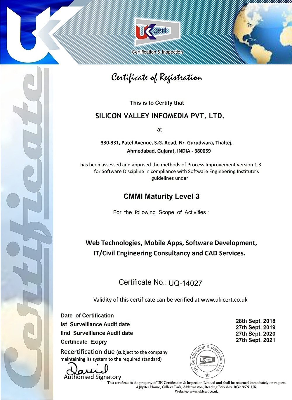 Silicon Valley Is An Iso27001 2005 Certified Company